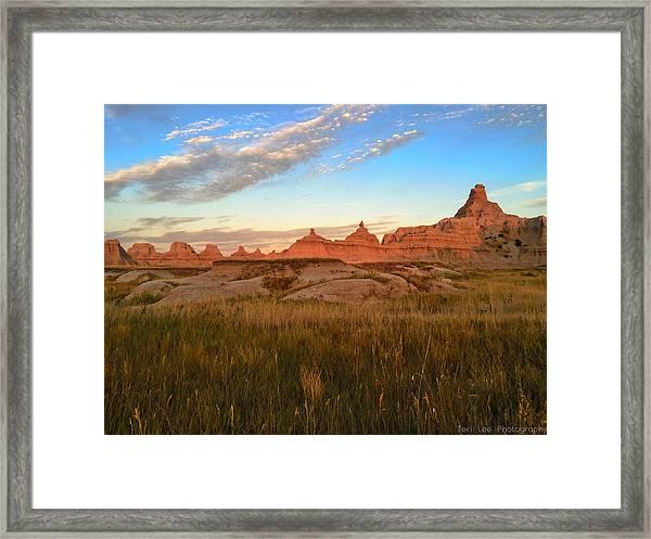Badlands Evening Glow Framed Print