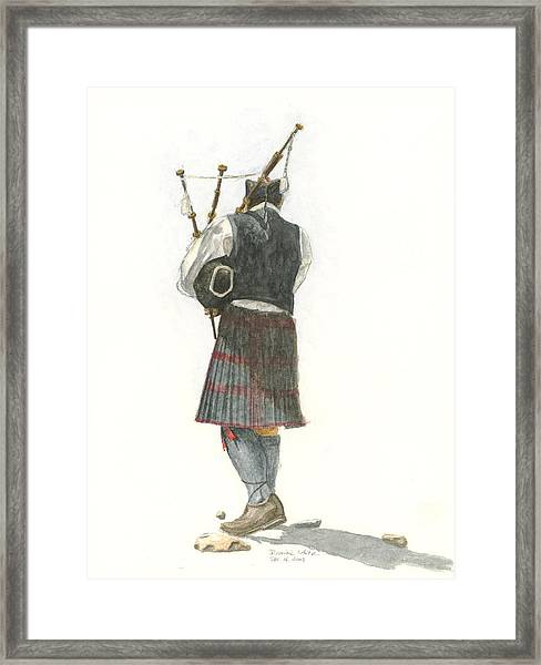 Bag Piper On A Maine Beach Framed Print