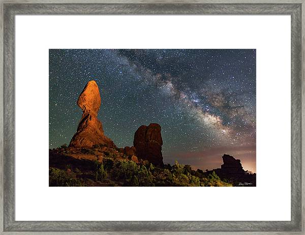 Balanced Rock And Milky Way Framed Print