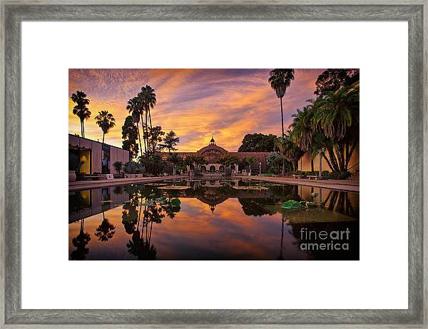 Balboa Park Botanical Building Sunset Framed Print