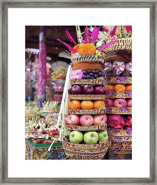 Balinese Life - Penyineban Piodalan Framed Print by Arya Swadharma