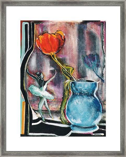 Ballerina And Flower Framed Print