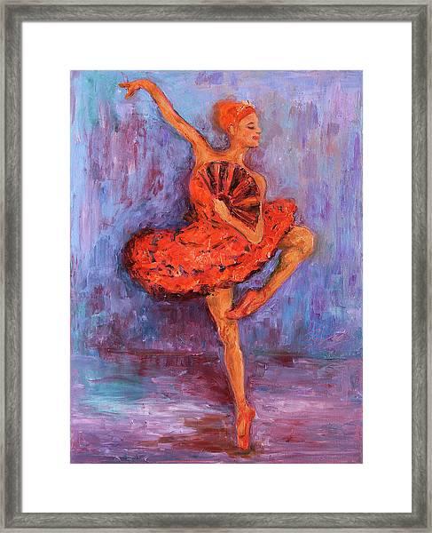 Ballerina Dancing With A Fan Framed Print