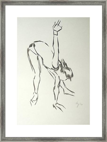 Ballet Dancer Bending And Stretching Framed Print