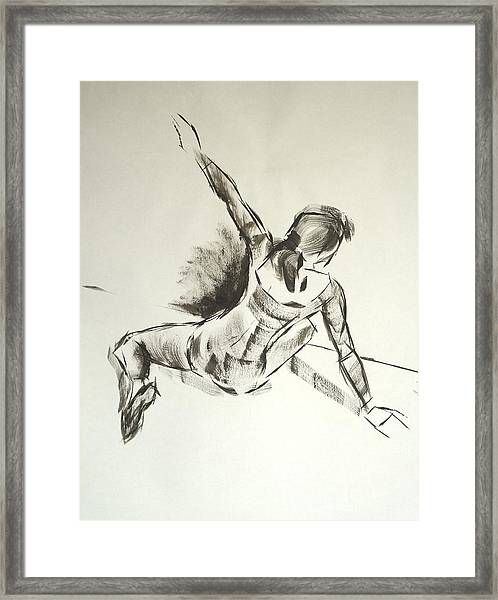Ballet Dancer Sitting On Floor With Weight On Her Right Arm Framed Print