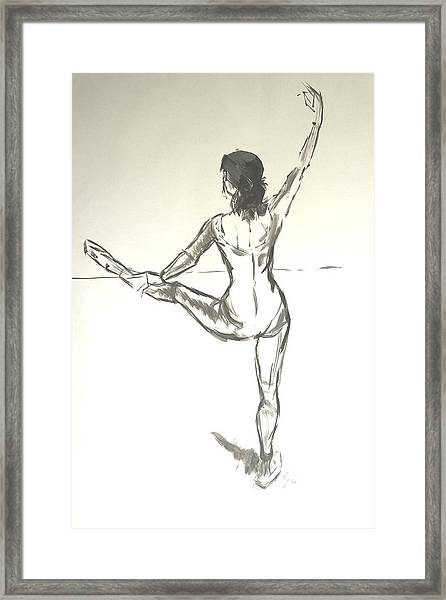 Ballet Dancer With Left Leg On Bar Framed Print