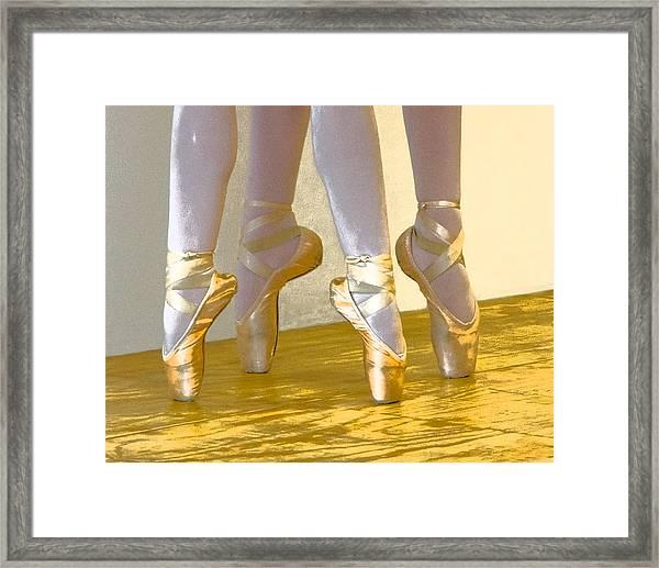 Ballet Second Position In Gold Framed Print