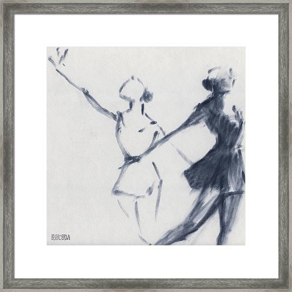 Ballet Sketch Two Dancers Mirror Image Framed Print