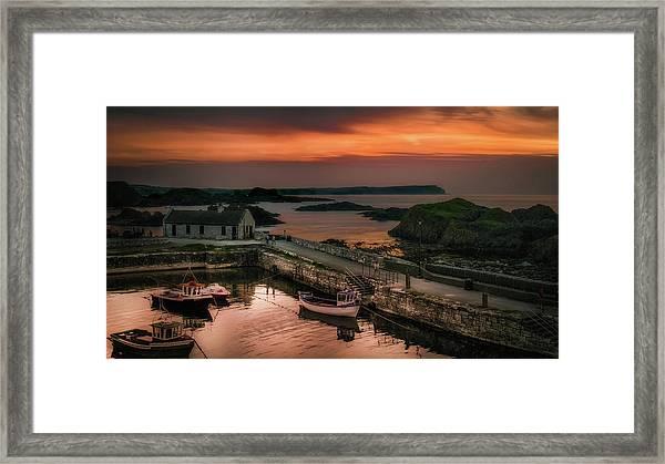 Ballintoy Harbour Sunset Framed Print