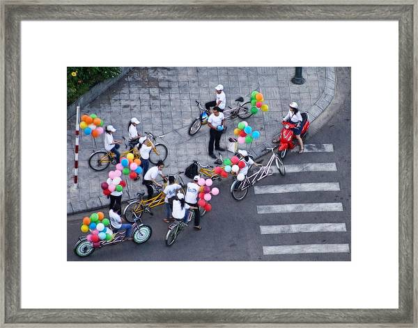 Balloons And Bikes Framed Print