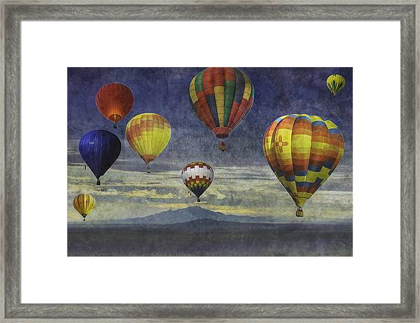 Balloons Over Sister Mountains Framed Print