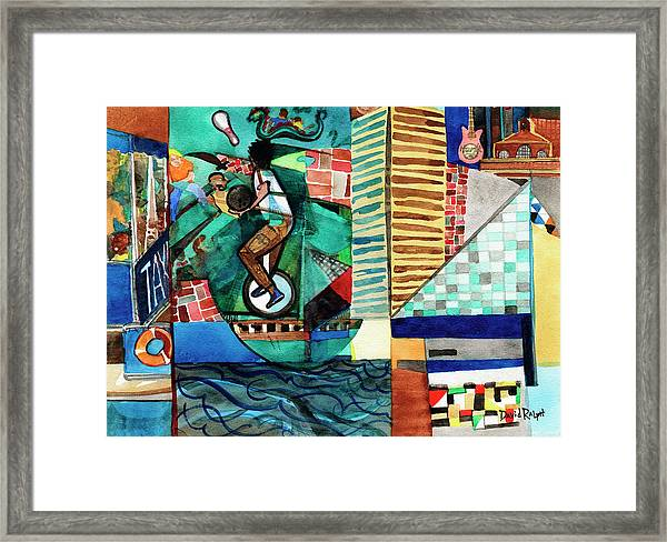 Baltimore Inner Harbor Street Performer Framed Print