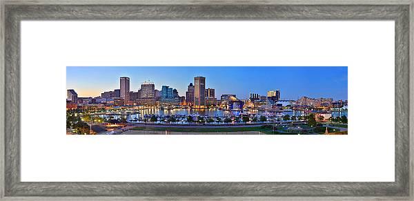 Baltimore Skyline Inner Harbor Panorama At Dusk Framed Print