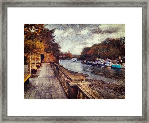Balustrades And Boats Framed Print