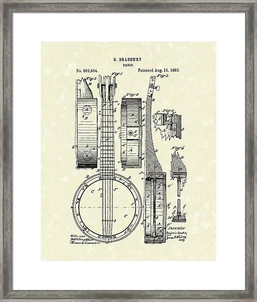 Banjo 1882 Patent Art Framed Print