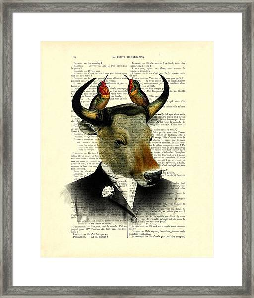 Banteng With Hummingbirds Framed Print