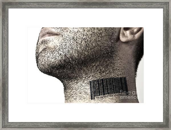 Bar Code On Neck Framed Print by Blink Images