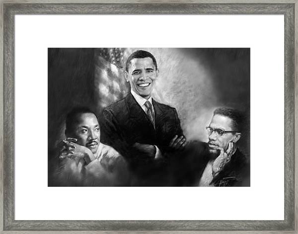 Barack Obama Martin Luther King Jr And Malcolm X Framed Print