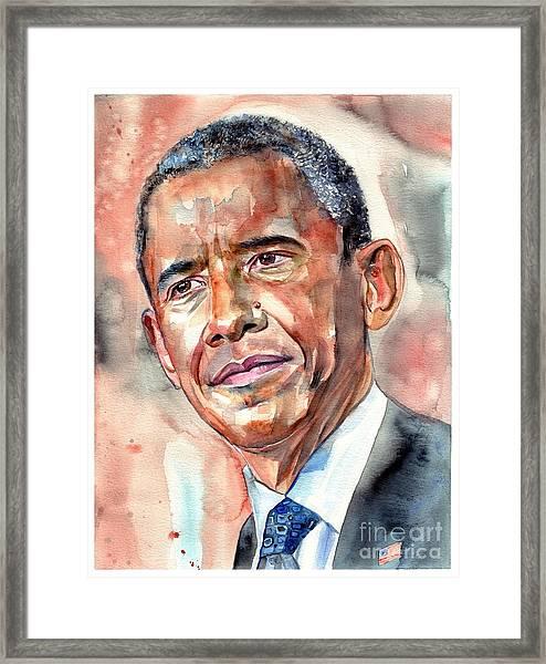 Barack Obama Painting Framed Print