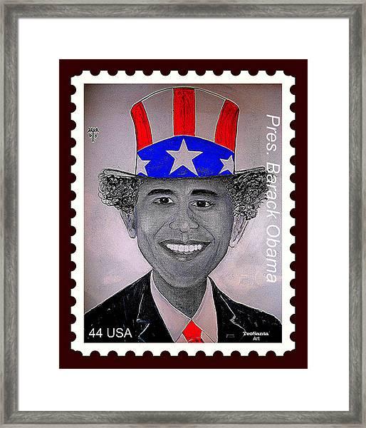 Barack Obama Postage Stamp Framed Print by Teodoro De La Santa