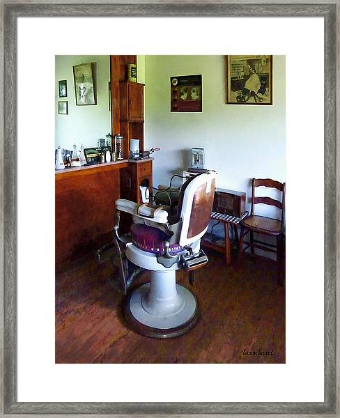 Barber - Old-fashioned Barber Chair Framed Print