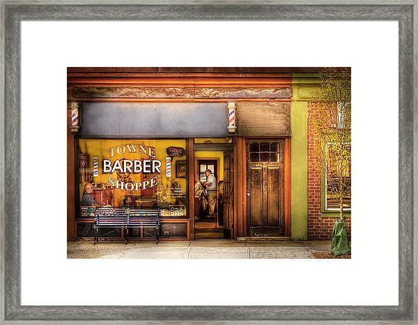 Barber - Towne Barber Shop Framed Print