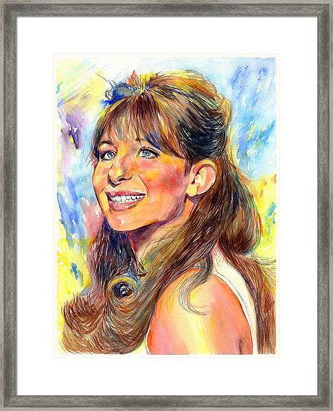 Barbra Streisand Young Portrait Framed Print