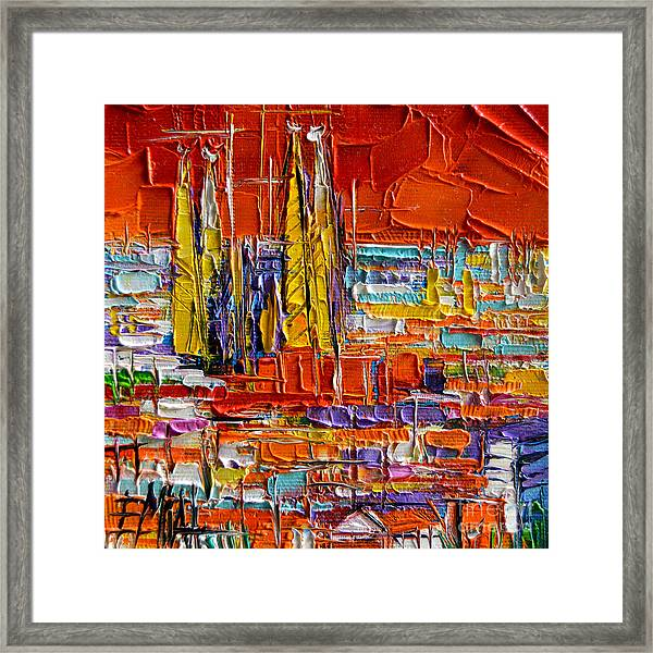 Barcelona Sagrada Familia View From Parc Guell Abstract Palette Knife Oil Painting Framed Print