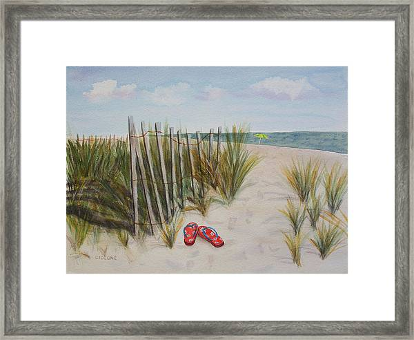 Barefoot On The Beach Framed Print