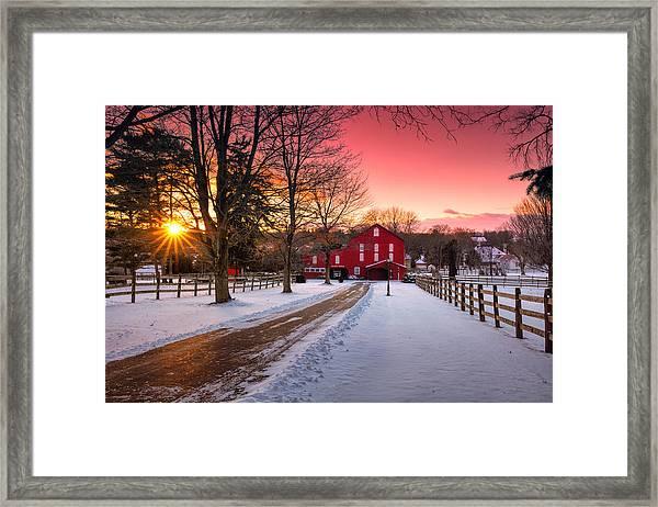 Barn At Sunset  Framed Print