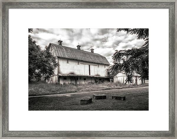 Barn In Black And White Framed Print