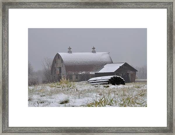 Barn In Winter Framed Print