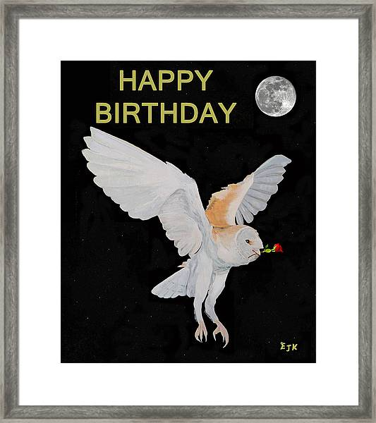 Framed Print featuring the mixed media Barn Owl Happy Birthday by Eric Kempson
