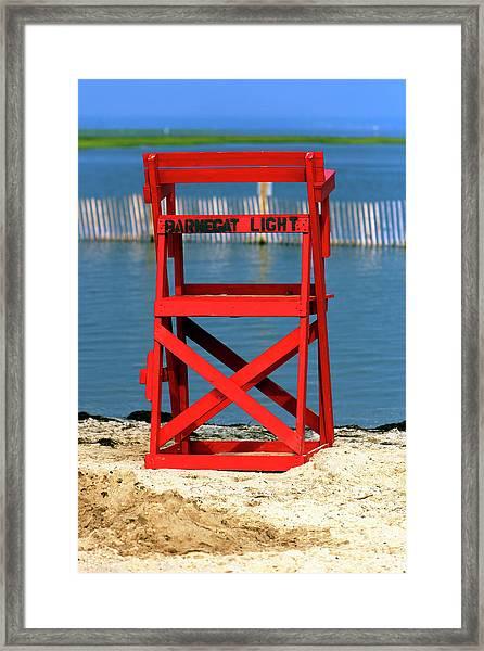 Barnegat Light Lifeguard Chair Framed Print by John Rizzuto