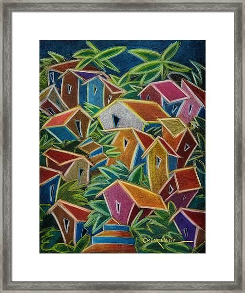 Framed Print featuring the painting Barrio Lindo by Oscar Ortiz