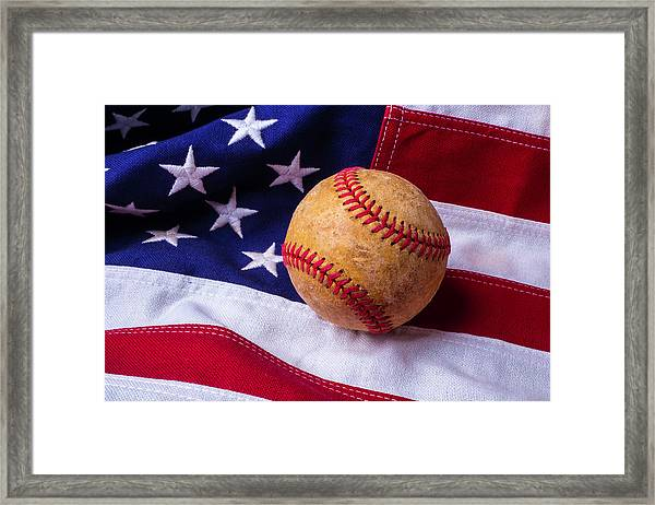 Baseball And American Flag Framed Print