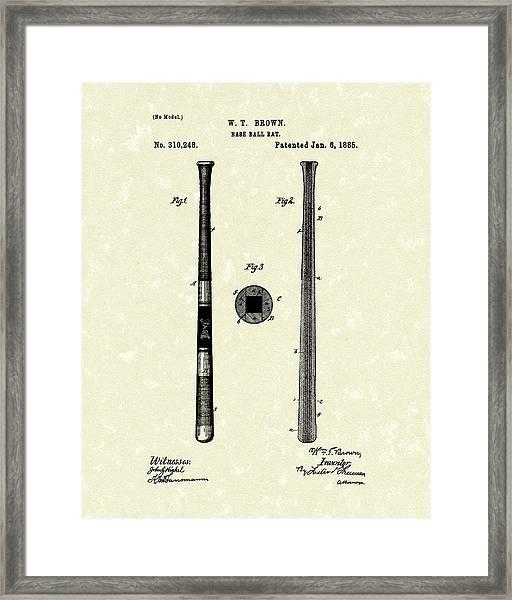 Baseball Bat 1885 Patent Art Framed Print
