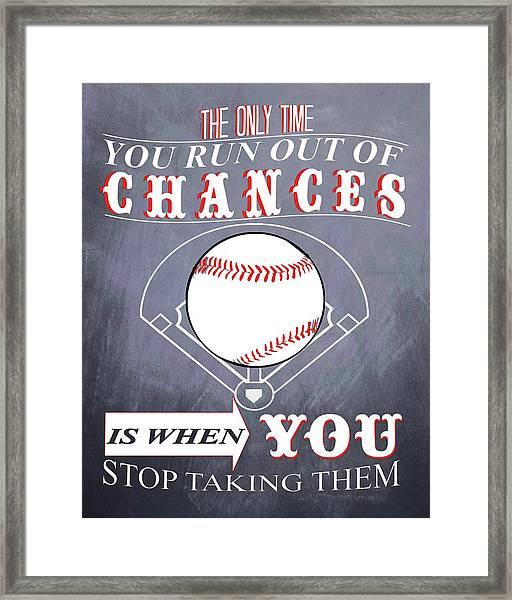 Baseball Chalkboard Inspiration Framed Print