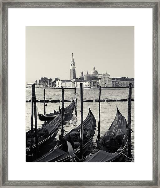 Basilica San Giorgio Maggiore And Gondolas Framed Print