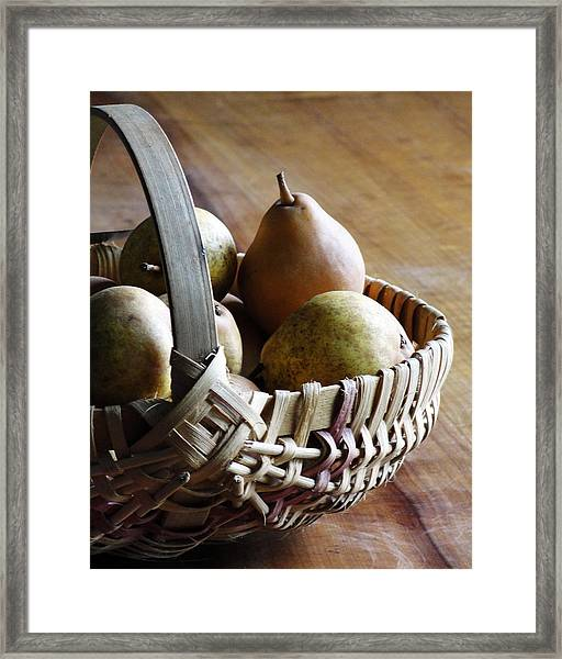 Basket And Pears Framed Print
