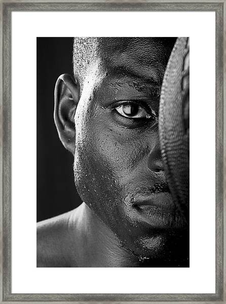 Basketball Player Close Up Portrait Framed Print