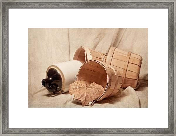 Baskets With Crock Framed Print