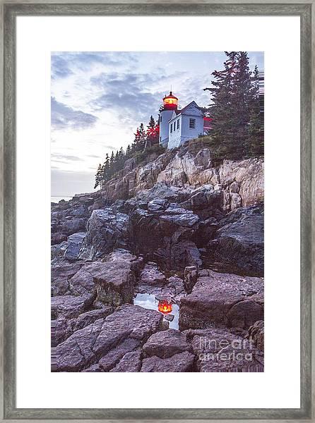 Bass Harbor Light Reflection Framed Print