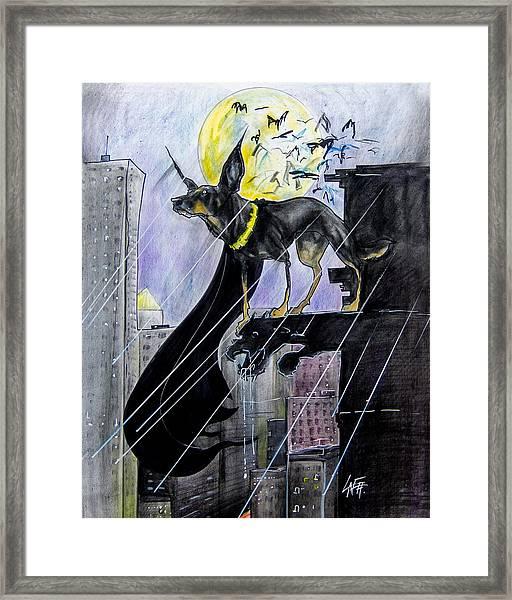Bat-dog Caricature  Framed Print