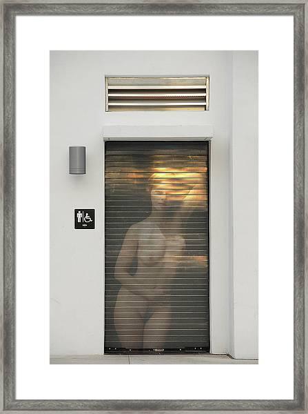 Bathroom Door Nude Framed Print