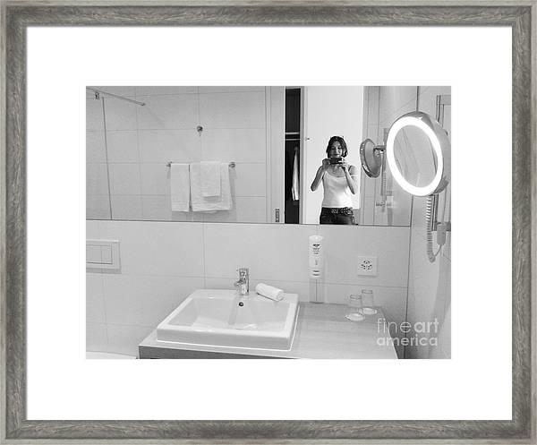 Bathroom Selfie Framed Print