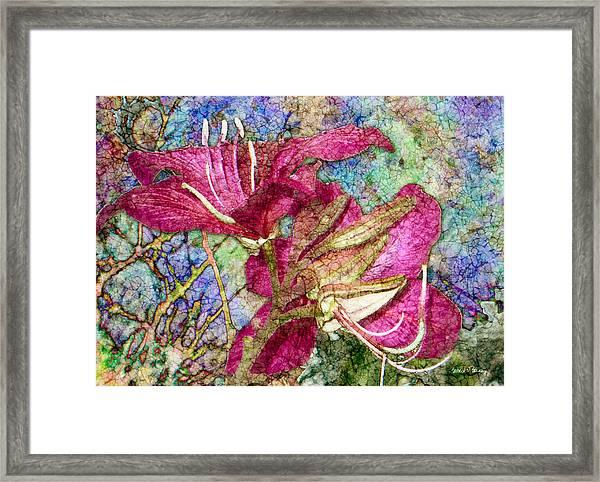 Batik Lilies Framed Print