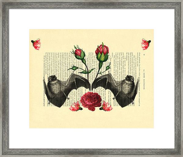 Bats With Angelic Roses Framed Print