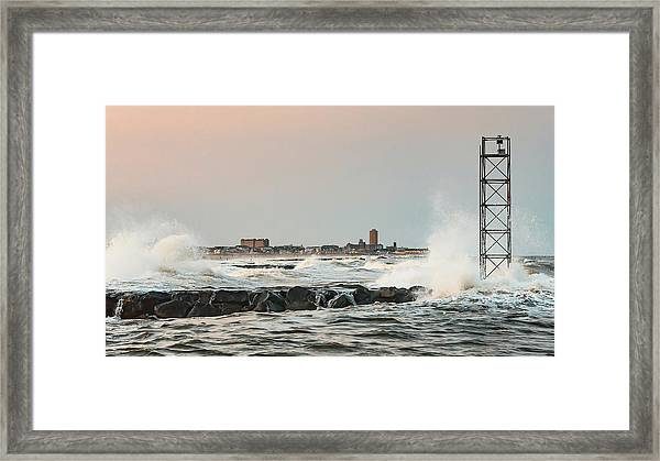 Battering The Shark River Inlet Framed Print