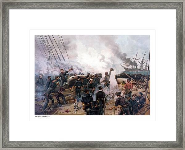 Battle Between Kearsarge And Alabama Framed Print